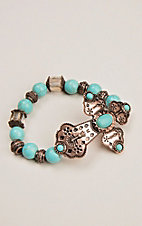 Caitlin's Detailed Cross Bracelet With Turquoise Stones