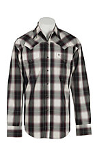Stetson Men's Black, White, and Purple Plaid L/S Western Snap Shirt