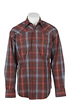 Stetson Men's Red and Grey Plaid L/S Western Snap Shirt