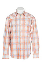 Stetson Men's Orange and Blue Plaid L/S Western Snap Shirt