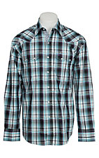 Stetson Men's Turquoise, Purple & Black Plaid Western Shirt