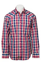 Stetson Men's Navy, Burgundy & Cream Plaid Long Sleeve Western Shirt