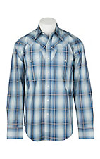 Stetson Men's Light Blue Plaid Fancy Triple Stitch Yoke Western Snap Shirt