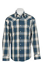 Stetson Men's Blue and Khaki Plaid L/S Western Snap Shirt
