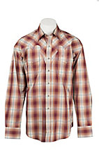 Stetson Men's Red, Khaki, and Orange Plaid Long Sleeve Western Shirt