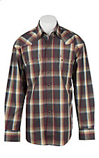 Stetson Men's Burgundy and Grey Plaid Long Sleeve Western Snap Shirt
