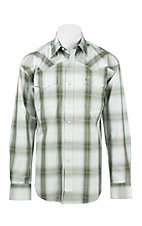 Stetson Men's Olive and Grey Plaid L/S Western Snap Shirt