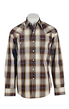 Stetson Men's Brown Plaid Western Shirt