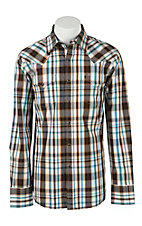 Stetson Men's Chocolate Plaid Long Sleeve Western Shirt