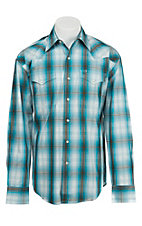 Stetson Men's Turquoise Plaid Long Sleeve Western Shirt