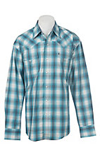 Stetson Men's Blue Ombre Plaid Western Snap Shirt