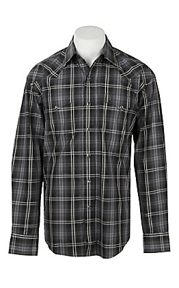 Stetson Men's Black and Grey Plaid Western Shirt