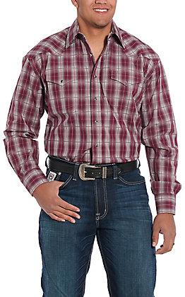 Stetson Men's Maroon Plaid Long Sleeve Western Shirt