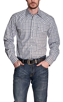 Stetson Men's Grey and Navy Plaid Long Sleeve Western Shirt