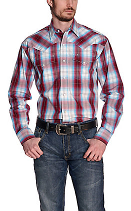 Stetson Men's Turquoise, Red and White Plaid Long Sleeve Western Shirt