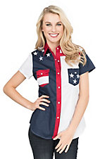 Roper Women's Red, White, and Blue American Flag Short Sleeve Western Snap Shirt