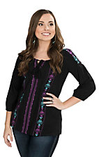 Roper Women's Black with Bright Embroidery 3/4 Sleeve Peasant Fashion Top