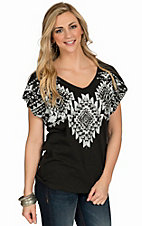 Roper Women's Black and White Aztec Screen Print Top