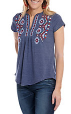 Roper Women's Navy V-Neck Peasant Fashion Top