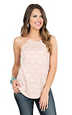 Roper Women's Faded Red with Cream Lace Front Sleeveless Halter Fashion Tank