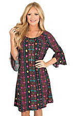 Roper Women's Aztec Print with Long Bell Sleeves Peasant Dress