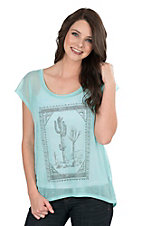 Roper Women's Turquoise with Desert Scene Screen Print Cap Sleeve Casual Knit Shirt
