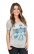 Roper Women's Grey with Aztec Print THunderbird Screen Print Cap Sleeve Casual Knit Shirt