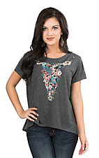 Roper Women's Grey with Floral Cow Skull Screen Print Short Sleeve Casual Knit Top