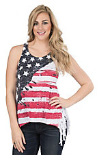 Roper Women's American Flag with Fringe Sides Sleeveless Casual Knit Shirt