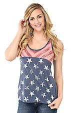 Roper Women's Navy American Flag Sleeveless Casual Knit Top