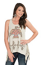 Roper Women's  Cream with Aztec Thunderbird and Fringe Sleeveless Casual Knit Top