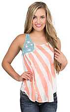 Roper Women's White with American Flag Screen Print Design Sleeveless Casual Knit