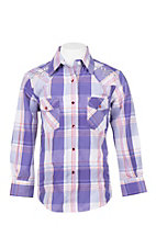 Wired Heart Girl's Purple Plaid with Embroidery Long Sleeve Western Snap Shirt