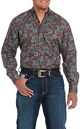Stetson Men's Brown Paisley Long Sleeve Western Shirt