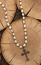 Jewelry Junkie White Pearl with Bronze Cross Pendant Necklace