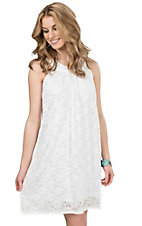 Stetson Women's White Lace Sleeveless Dress