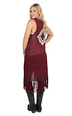Stetson Women's Maroon with Aztec Print and Fringe Crochet Vest