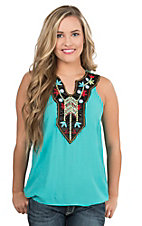 Roper Women's Turquoise with Black Lined Neckline with Floral Multi Color Embroidery and Beading Sleeveless Halter Fashion Top