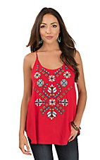 Roper Women's Red Floral Embroidered Spaghetti Strap Sleeveless Fashion Top