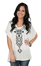 Roper Women's White with Black Aztec Embroidery Sleeveless Fashion Tunic Top