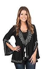 Roper Women's Black with White Embroidery and Tassel Tie Long Bell Sleeve Fashion Top