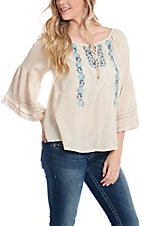 Roper Women's White 3/4 Bell Sleeve Peasant Fashoin Top