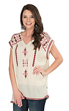 Roper Women's White with Red Aztec Embroidery Sleeveless Fashion Tunic Top
