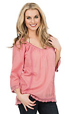Roper Women's Rose with Crochet Lace Trim 3/4 Sleeve Peasant Fashion Top