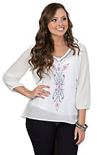 Roper Women's White with Floral Aztec Embroidery 3/4 Sleeve Chiffon Peasant Blouse