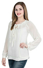 Roper Women's White with Crochet Details Long Sleeve Fashion Peasant Top