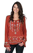Roper Women's Orange with Aztec Embroidery Long Bell Sleeve Fashion Top