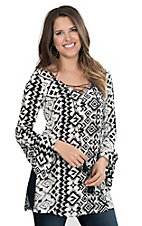 Roper Women's Black and White Aztec Print Long Bell Sleeve Fashion Top