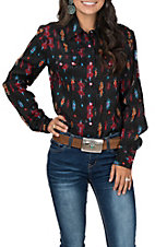 Roper Black Aztec Print Long Sleeve Western Shirt