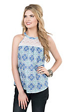 Roper Women's Blue Medallion Print with Lace Yoke Sleeveless Fashion Top